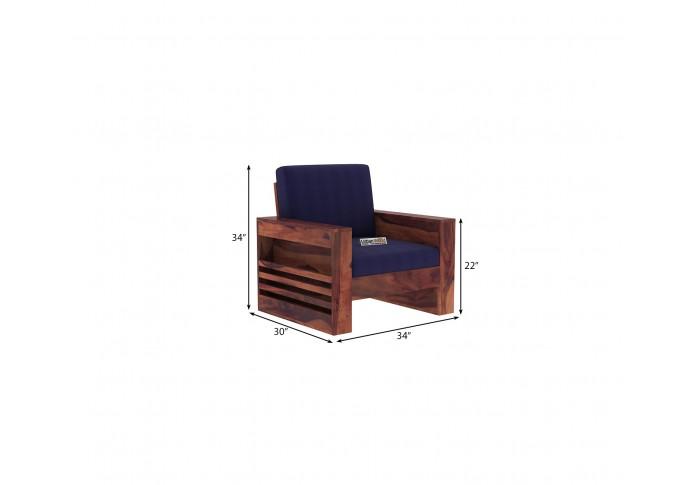 Modway Wooden Sofa Set 2+1+1 Seater (Teak Finish)