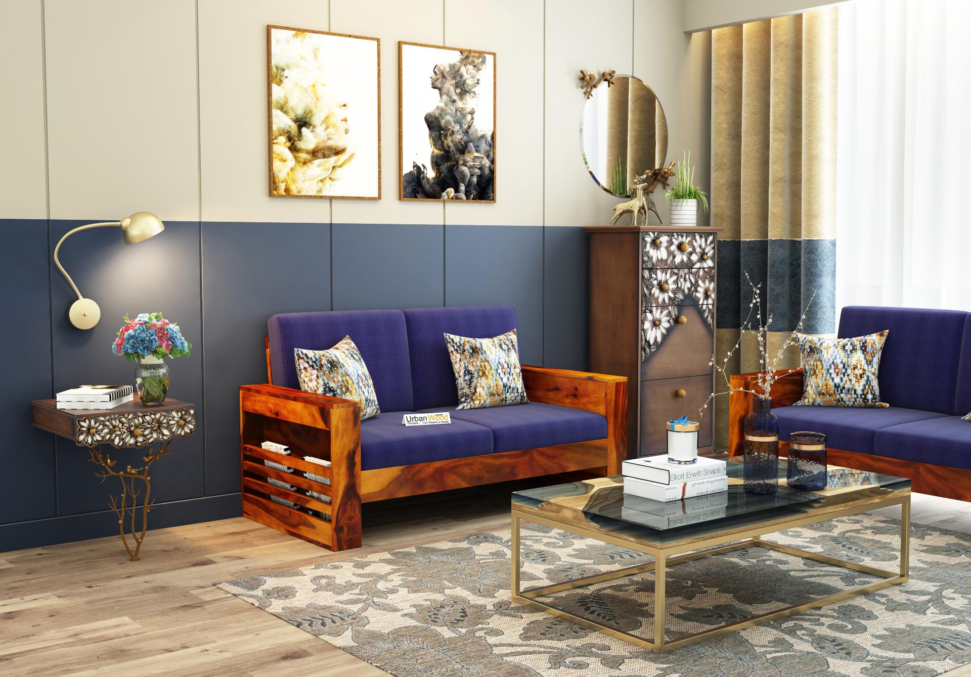 Modway Wooden Sofa 2 Seater <small>( Honey Finish )</small>