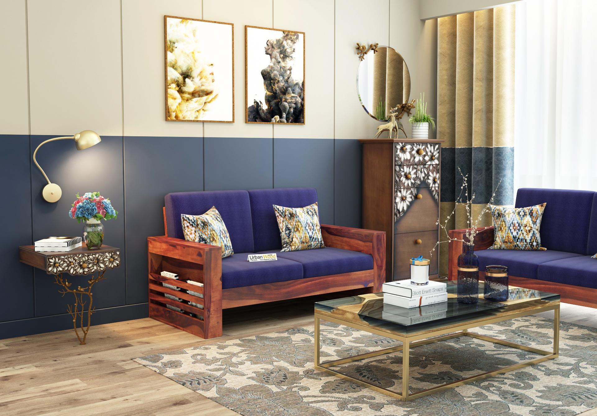 Modway Wooden Sofa 2 Seater <small>( Teak Finish )</small>