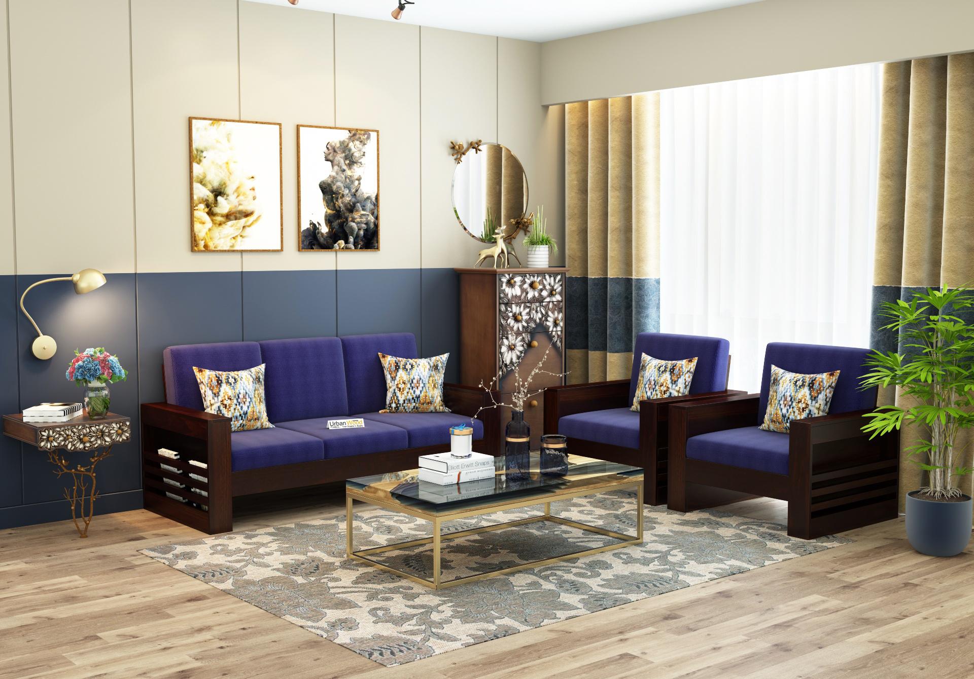 Modway Wooden Sofa Set 3+1+1<small>(Walnut Finish)</small>