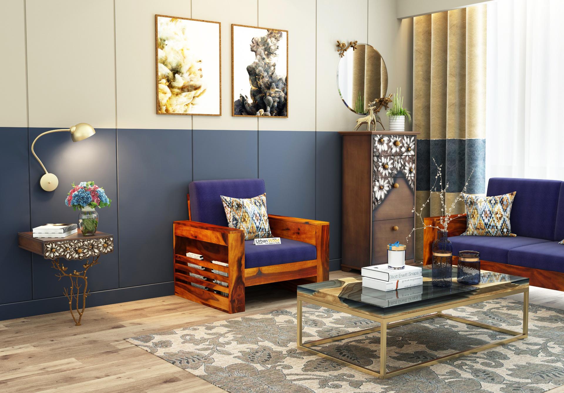 Modway Wooden Sofa Set 3+2+1 Seater <small>(Honey Finish)</small>