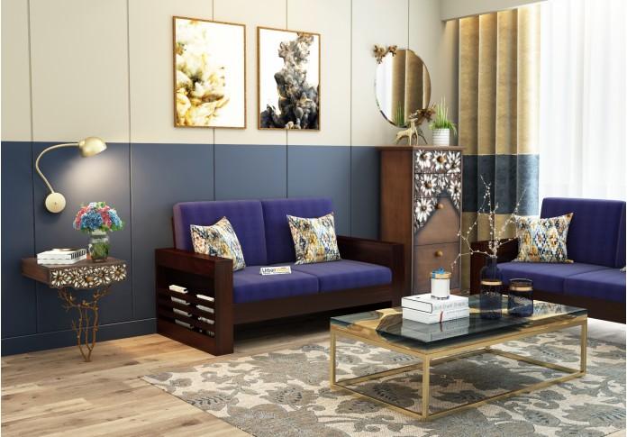 Modway Wooden Sofa Set 3+2+1 Seater (Walnut Finish)