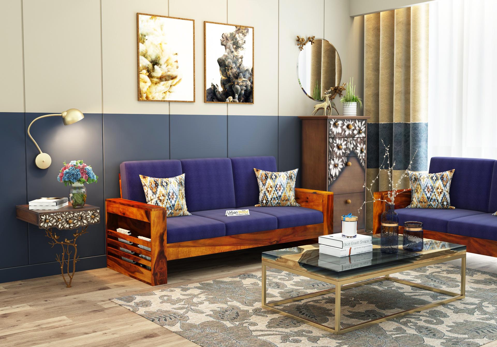 Modway Wooden Sofa 3 Seater <small>(Honey Finish)</small>