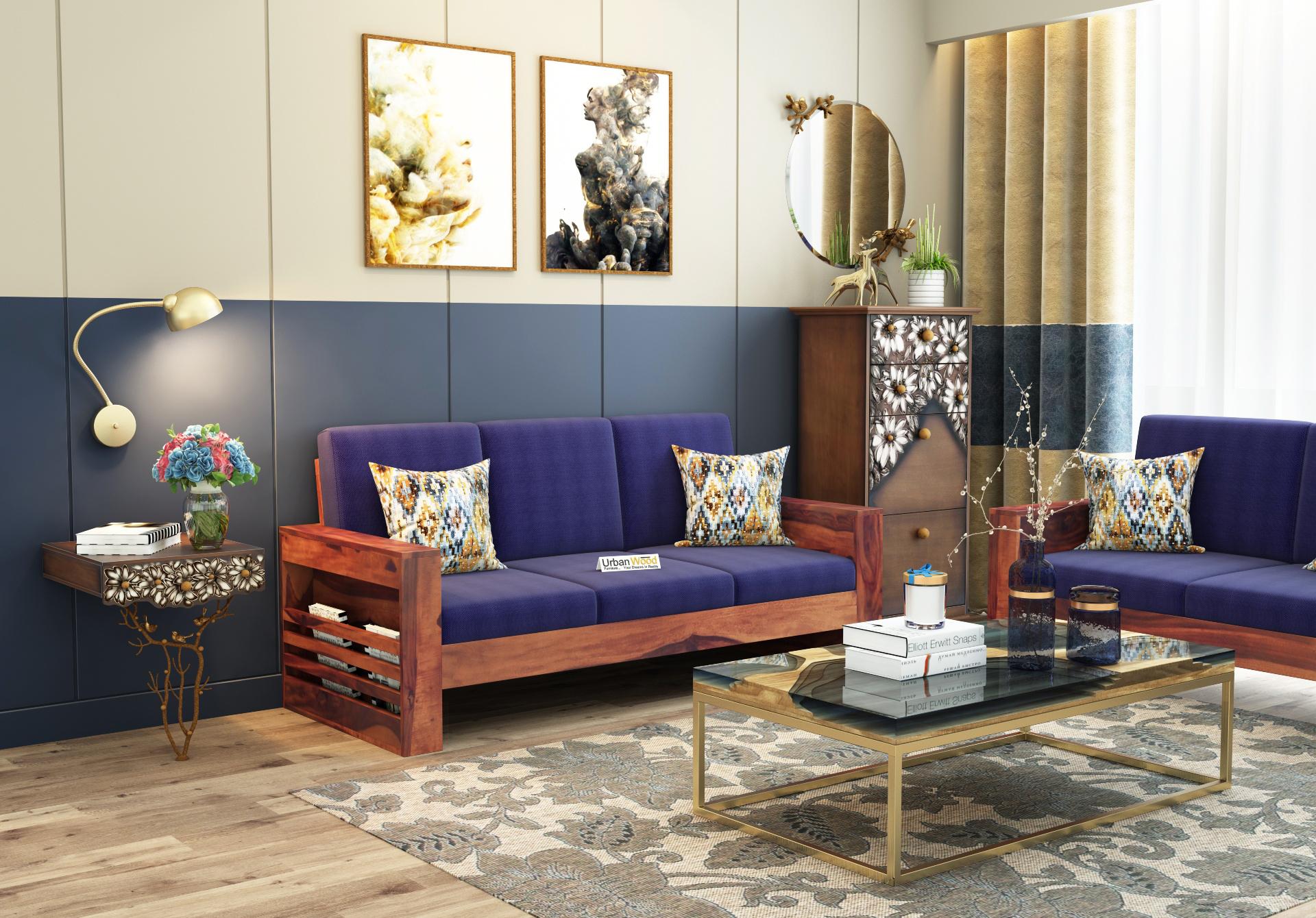 Modway Wooden Sofa 3 Seater <small>(Teak Finish)</small>