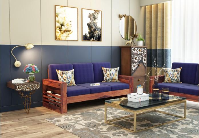 Modway Wooden Sofa 3 Seater (Teak Finish)
