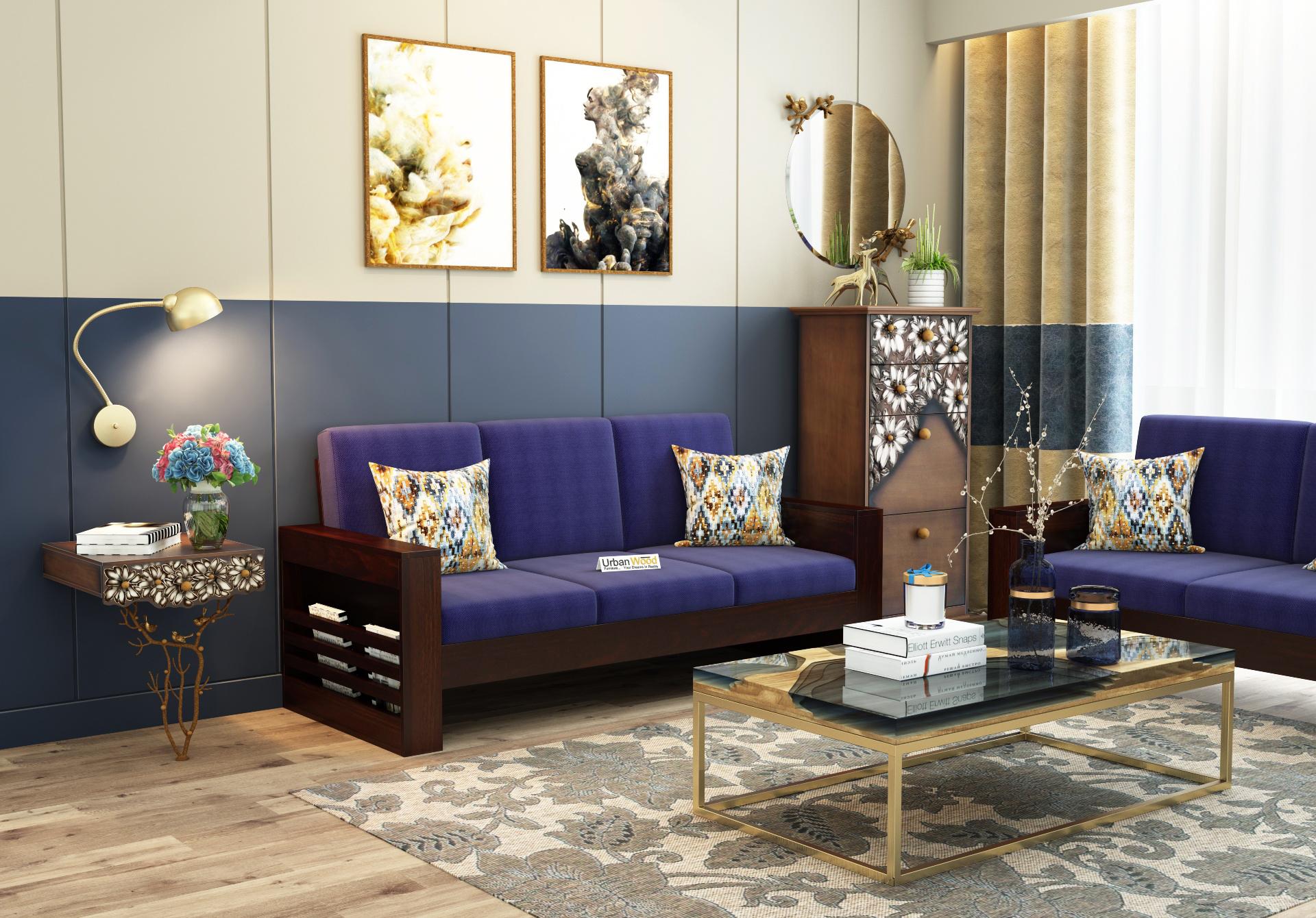 Modway Wooden Sofa 3 Seater <small>(Walnut Finish)</small>