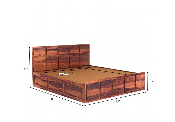 Bedswind Bed With Storage ( King Size, Teak Finish )