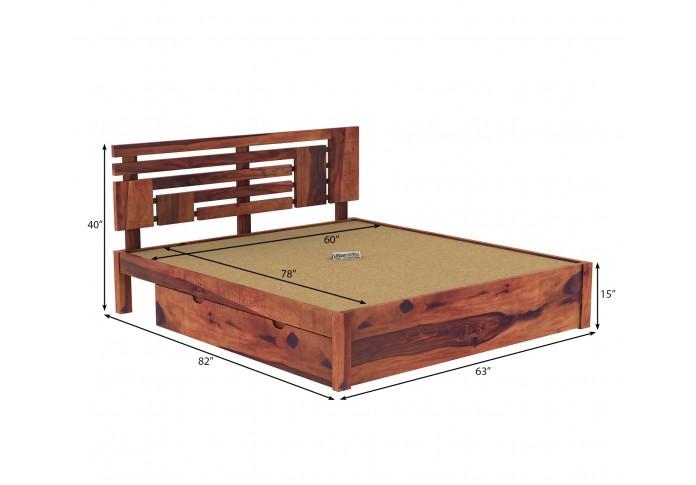 Berlin Wooden Bed With Drawer Storage (Queen Size, Teak Finish)