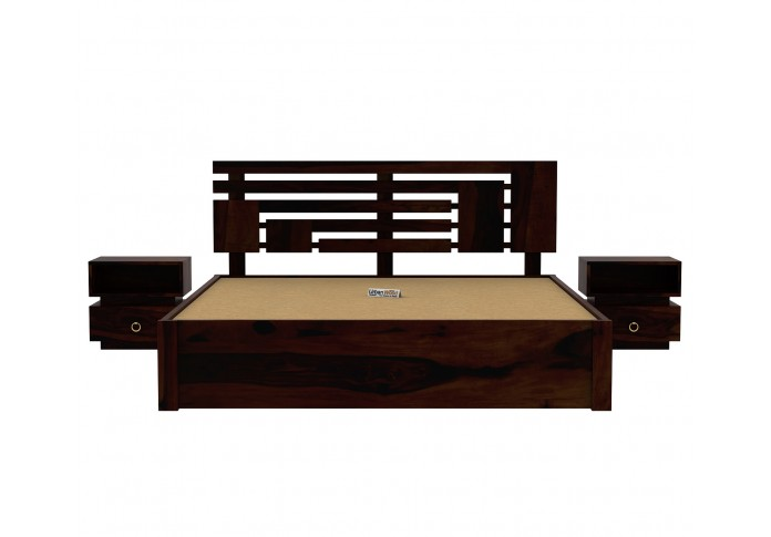 Berlin Wooden Bed With Drawer Storage (Queen Size, Walnut Finish)