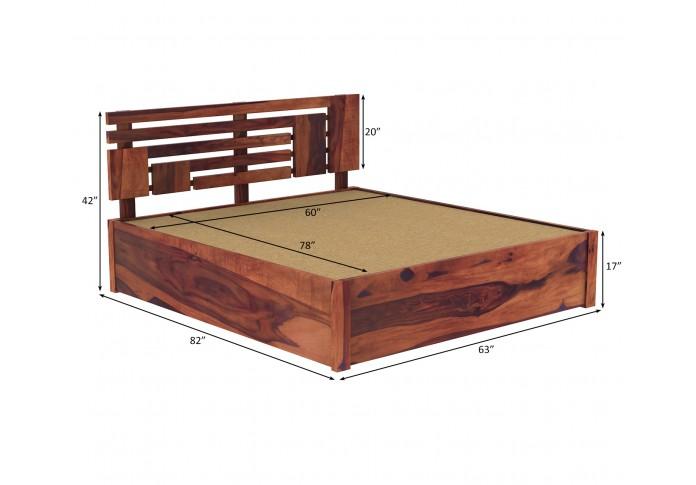 Berlin Wooden Hydraulic Bed  (Queen Size, Teak Finish)