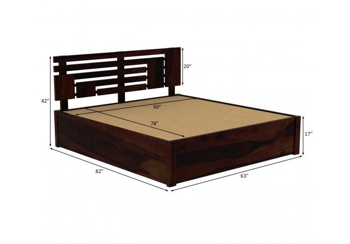 Berlin Wooden Hydraulic Bed  (Queen Size, Walnut Finish)