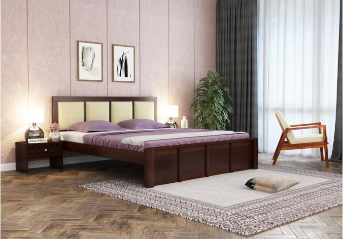 Harris Bed Without Storage ( King Size, Walnut Finish )