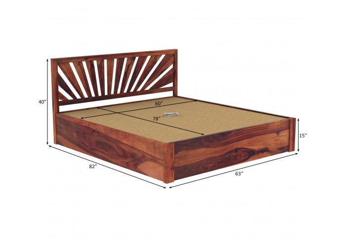 Jerry Wooden Hydraulic Bed Queen Size (Teak Finish)