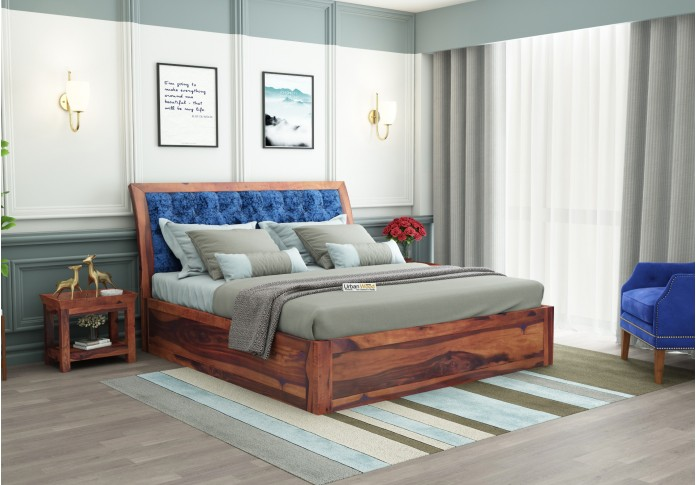 Ross Wooden Bed With Box Storage (King Size, Teak Finish)