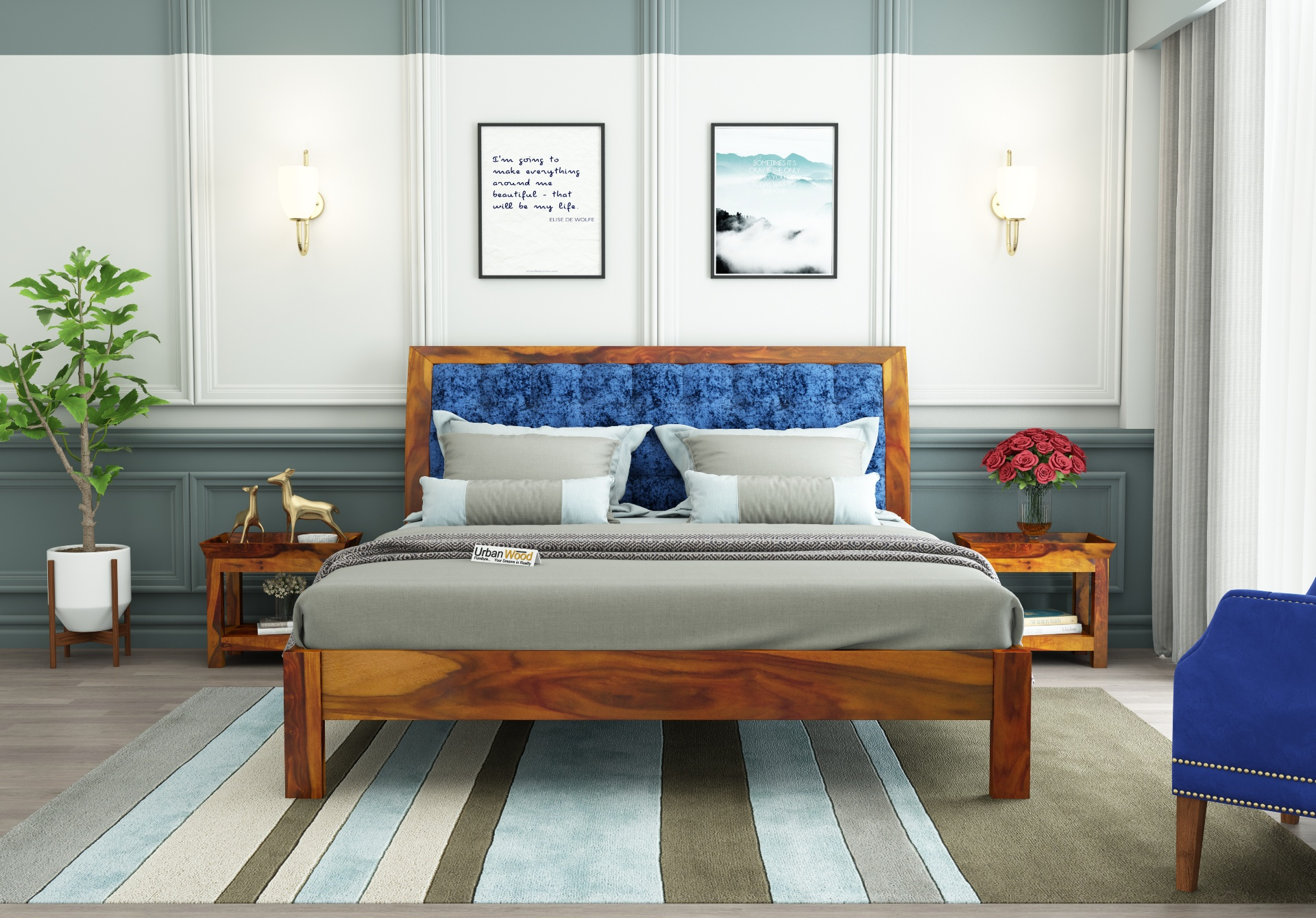 Ross Wooden Bed Without storage <small>(Queen Size, Honey Finish)</small>