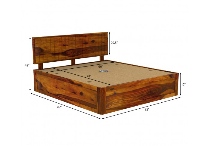 Solic Wooden Bed With Box Storage Queen Size (Honey Finish)