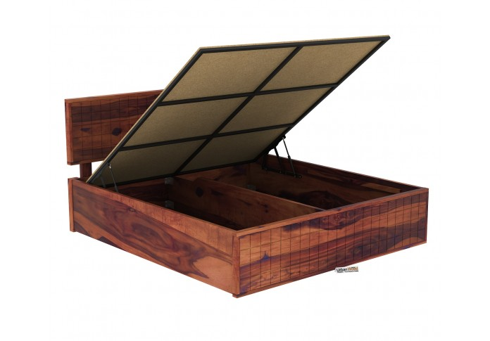 Solic Wooden Hydraulic Bed King Size (Teak Finish)