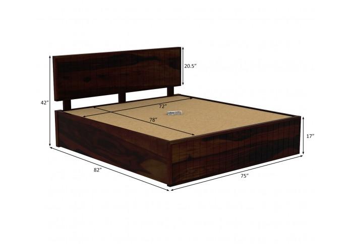 Solic Wooden Hydraulic Bed King Size (Walnut Finish)
