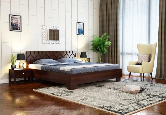 Trace Bed Without Storage ( King Size, Walnut Finish )
