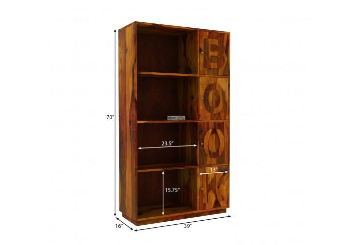 Melvin Wooden Bookcase (Honey Finish)