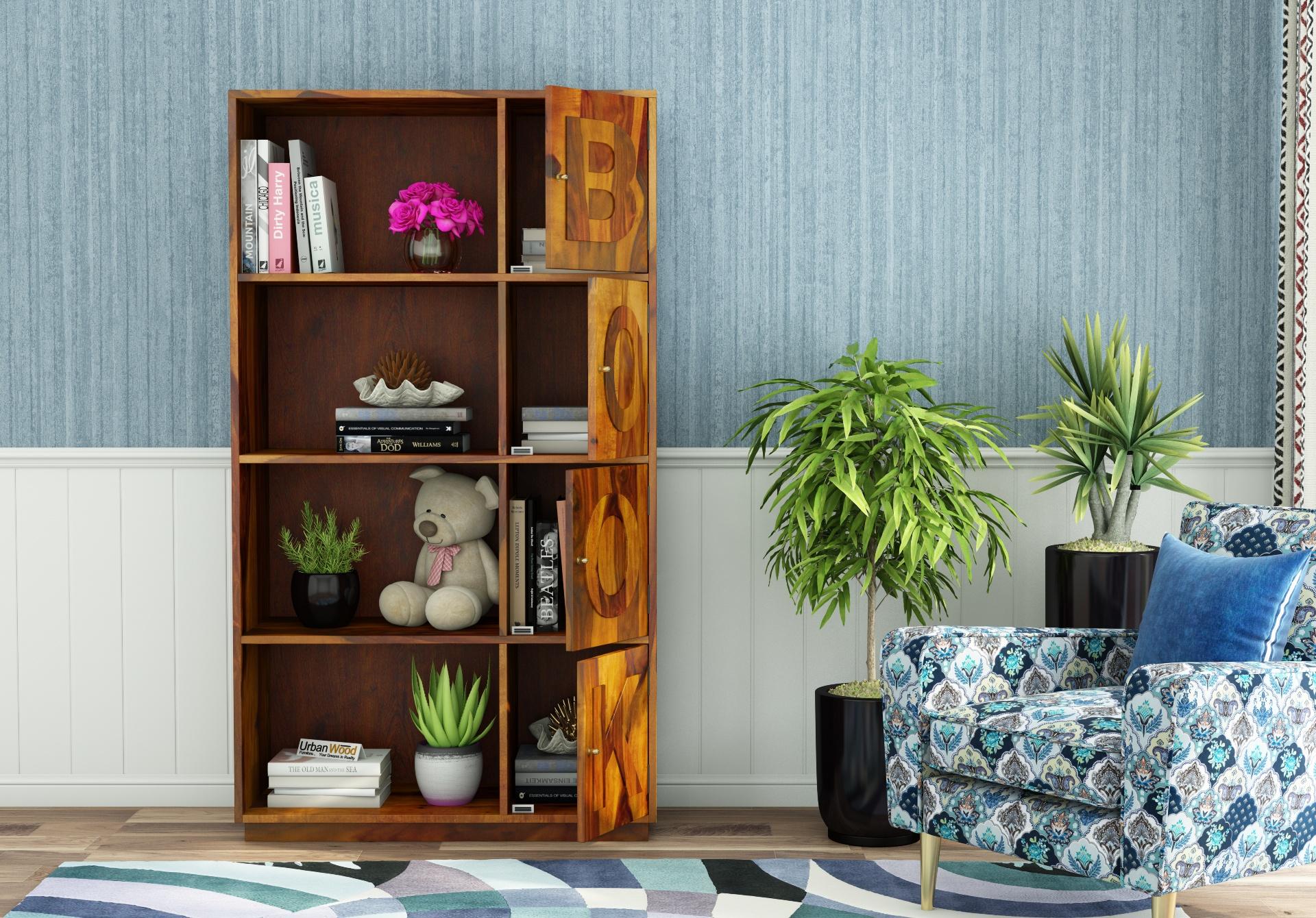 Melvin Wooden Bookcase <small>(Honey Finish)</small>