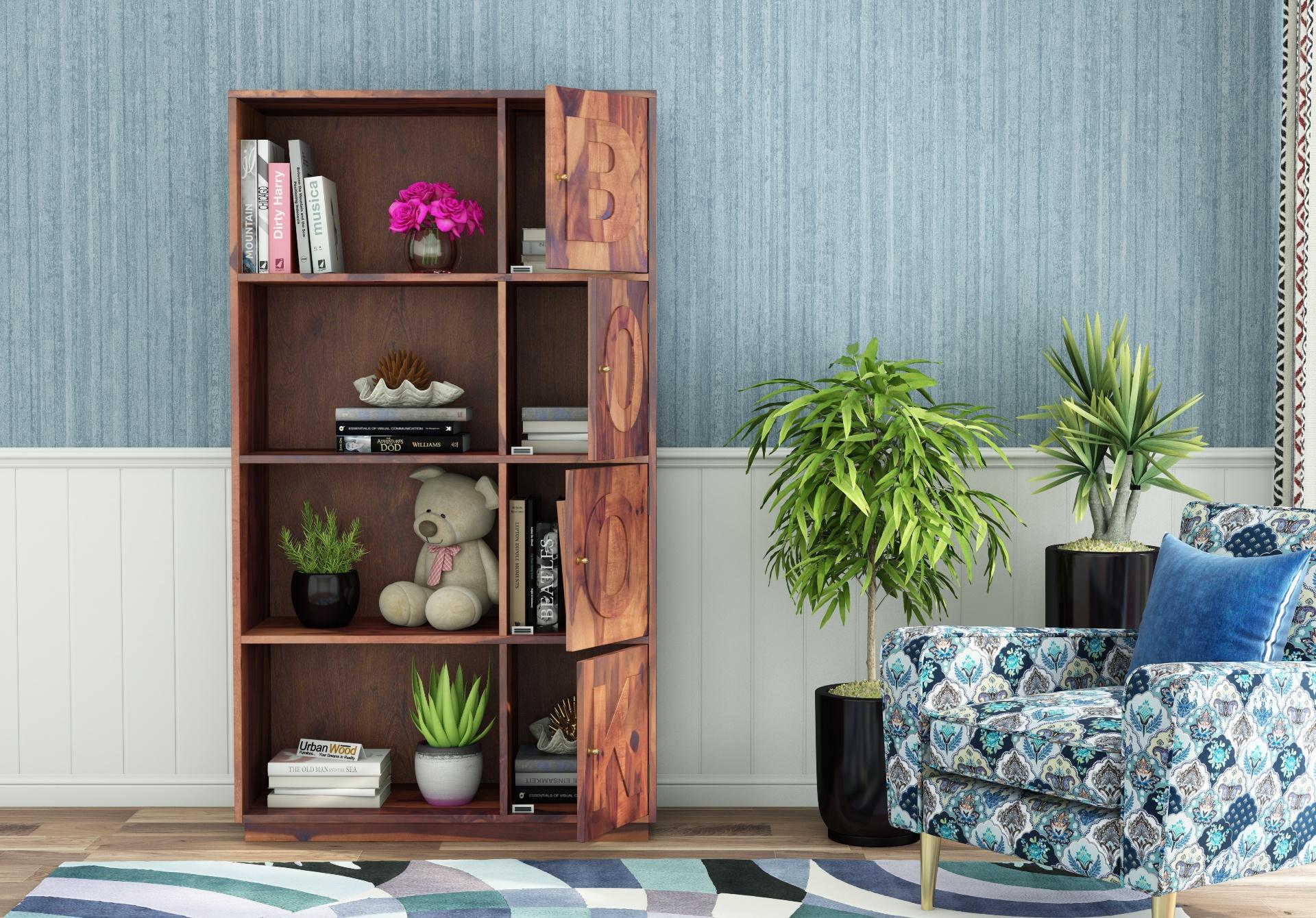 Melvin Wooden Bookcase <small>(Teak Finish)</small>
