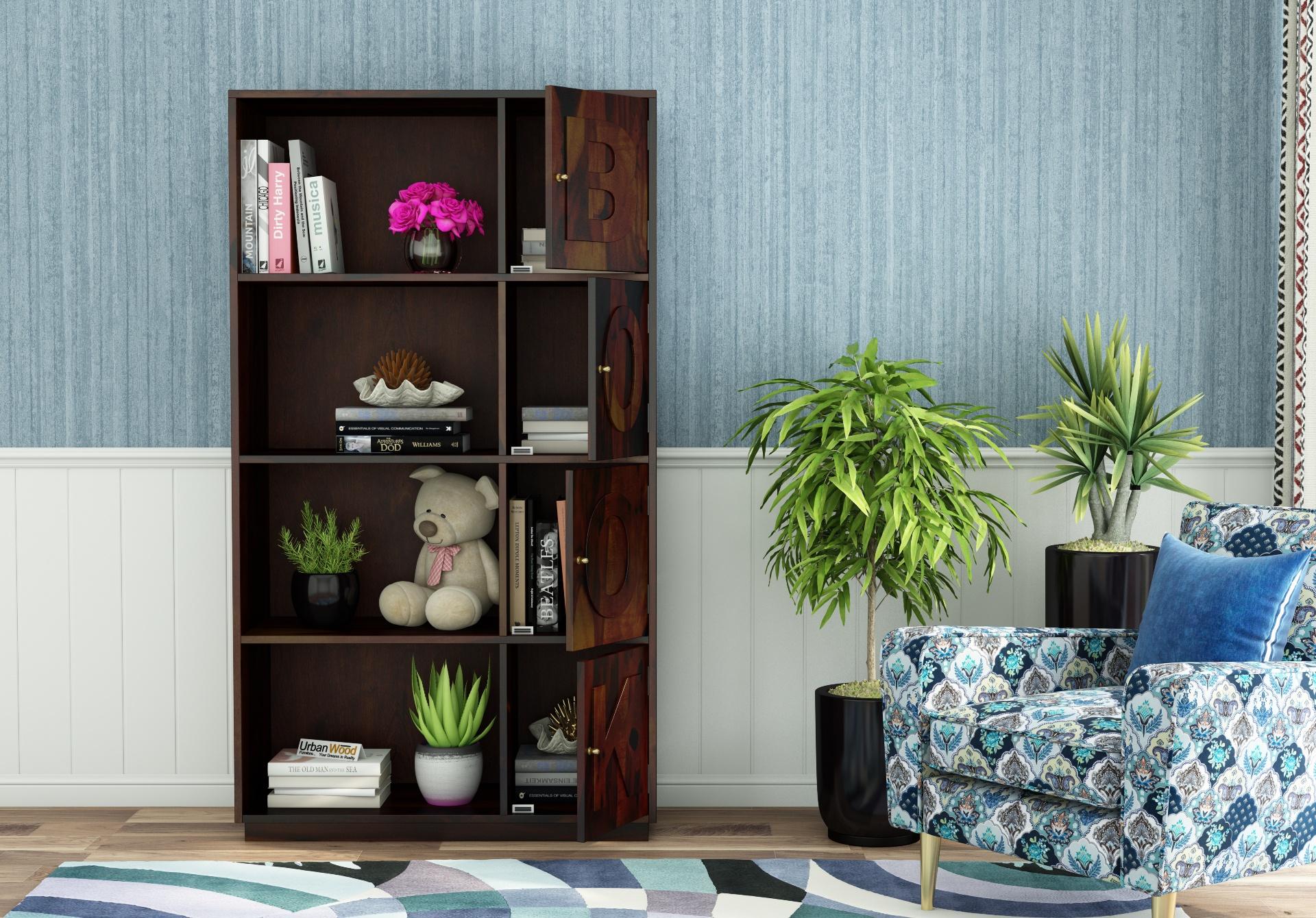 Melvin Wooden Bookcase <small>(Walnut Finish)</small>