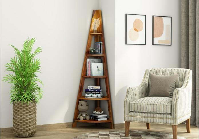 Naro Wooden Corner Bookshelf (Honey Finish)