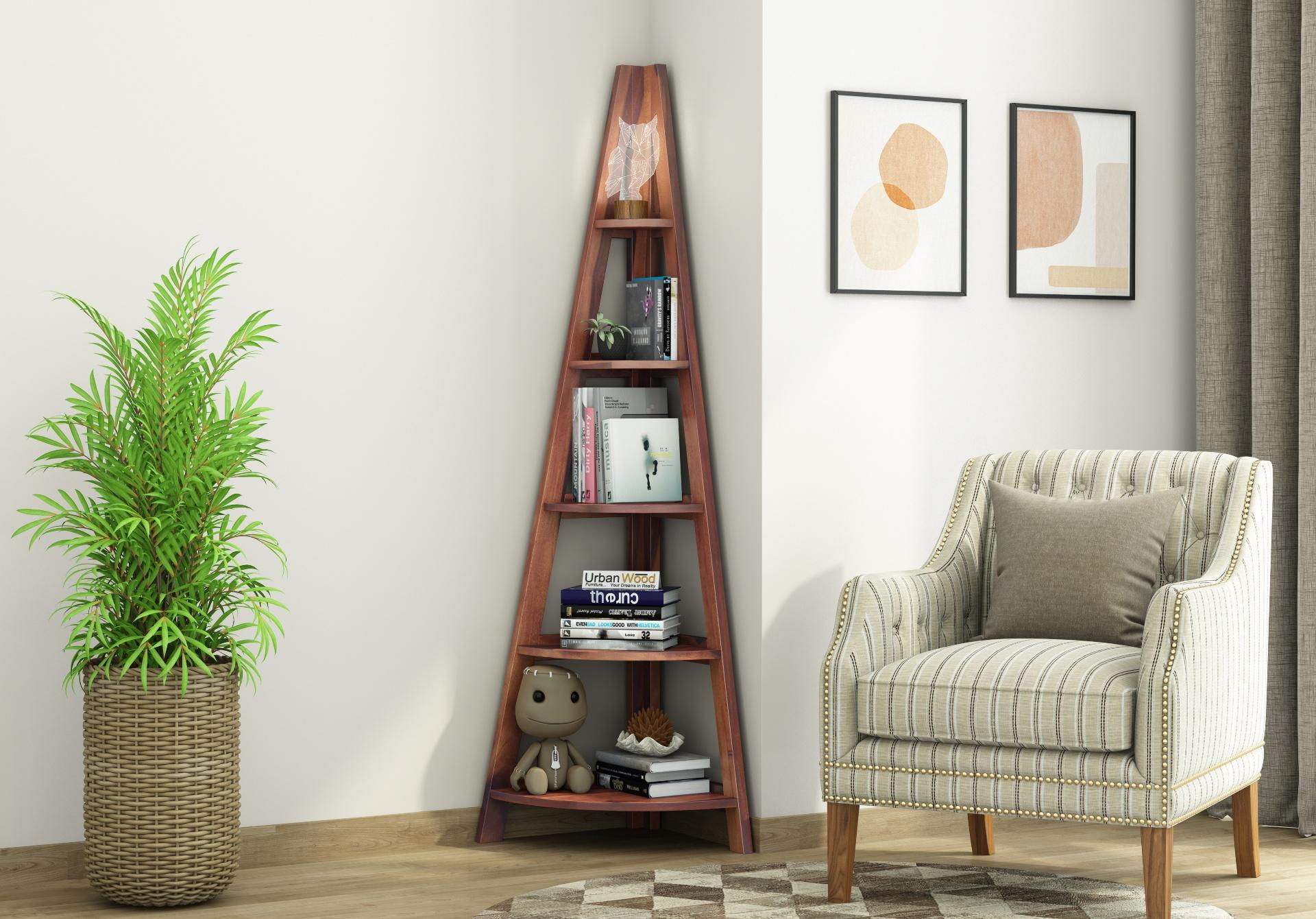 Naro Wooden Corner Bookshelf <small>(Teak Finish)</small>