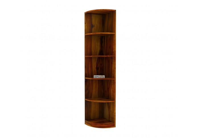 Rop Wooden Corner Bookshelf (Honey Finish)