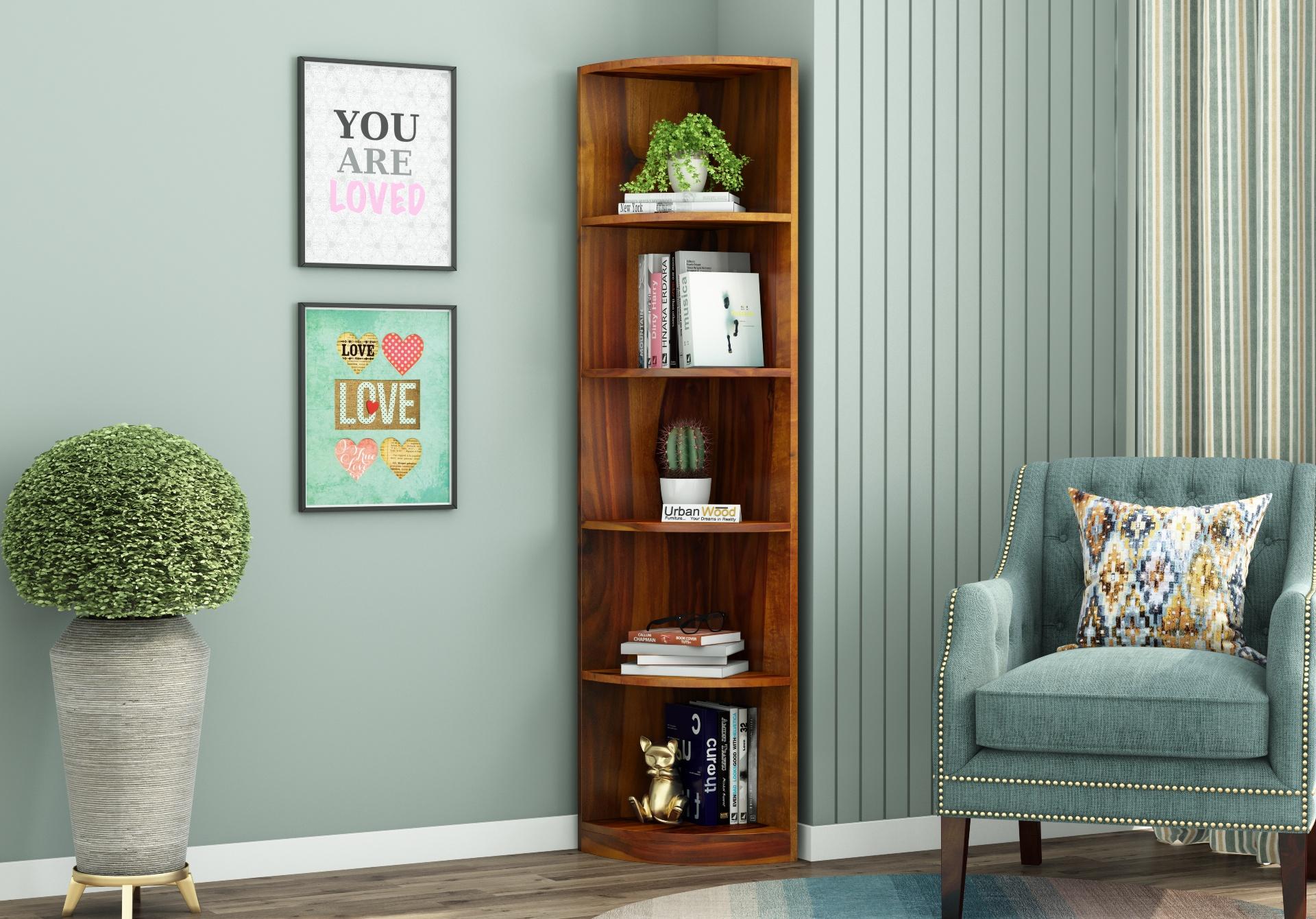 Rop Wooden Corner Bookshelf <small>(Honey Finish)</small>