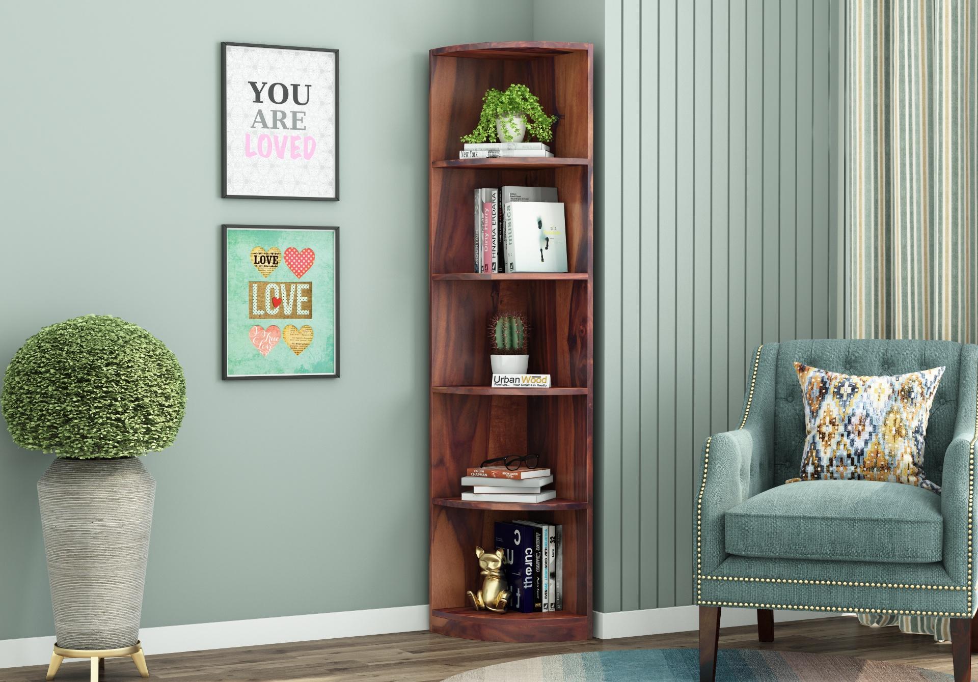 Rop Wooden Corner Bookshelf <small>(Teak Finish)</small>