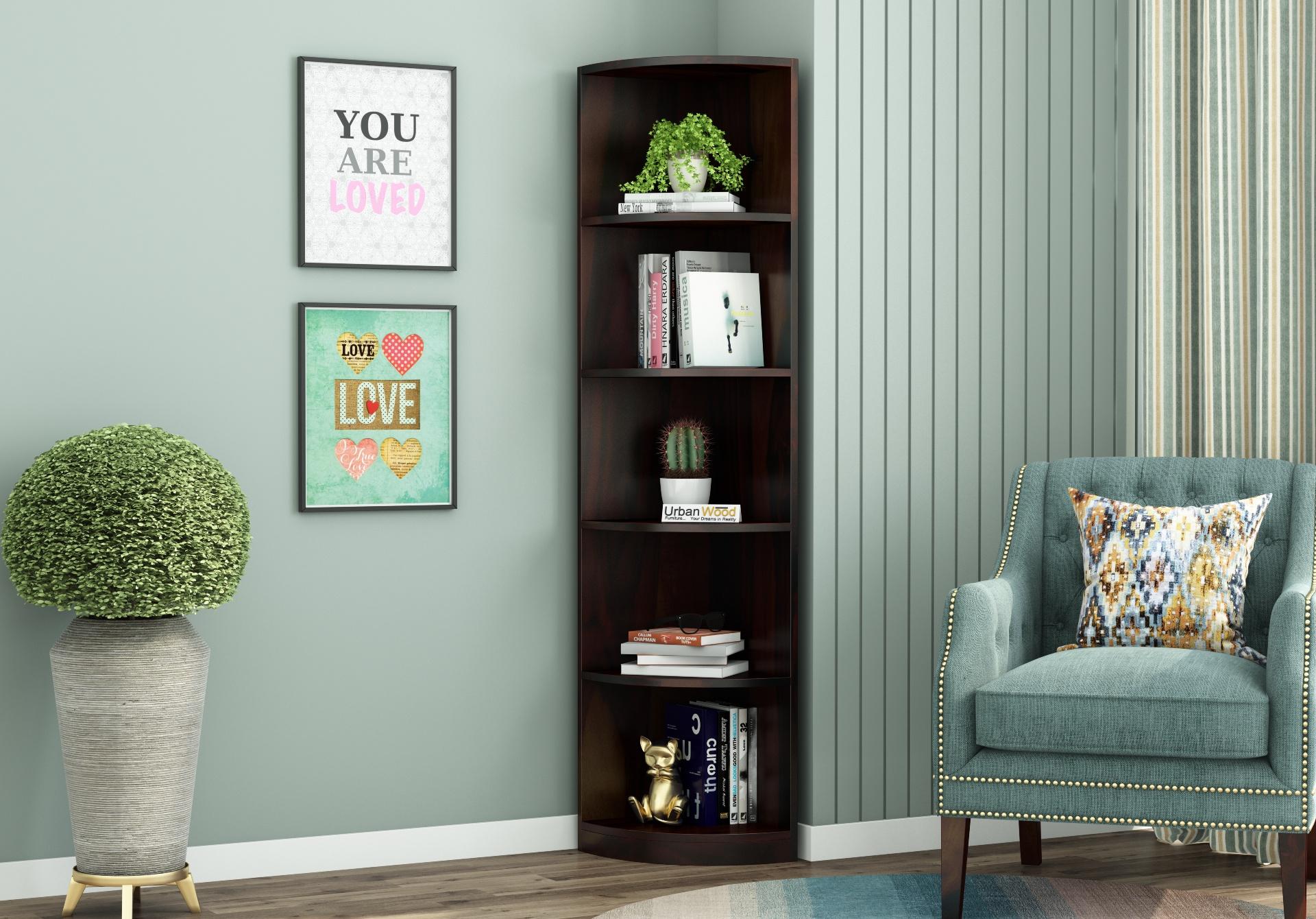 Rop Wooden Corner Bookshelf <small>(Walnut Finish)</small>
