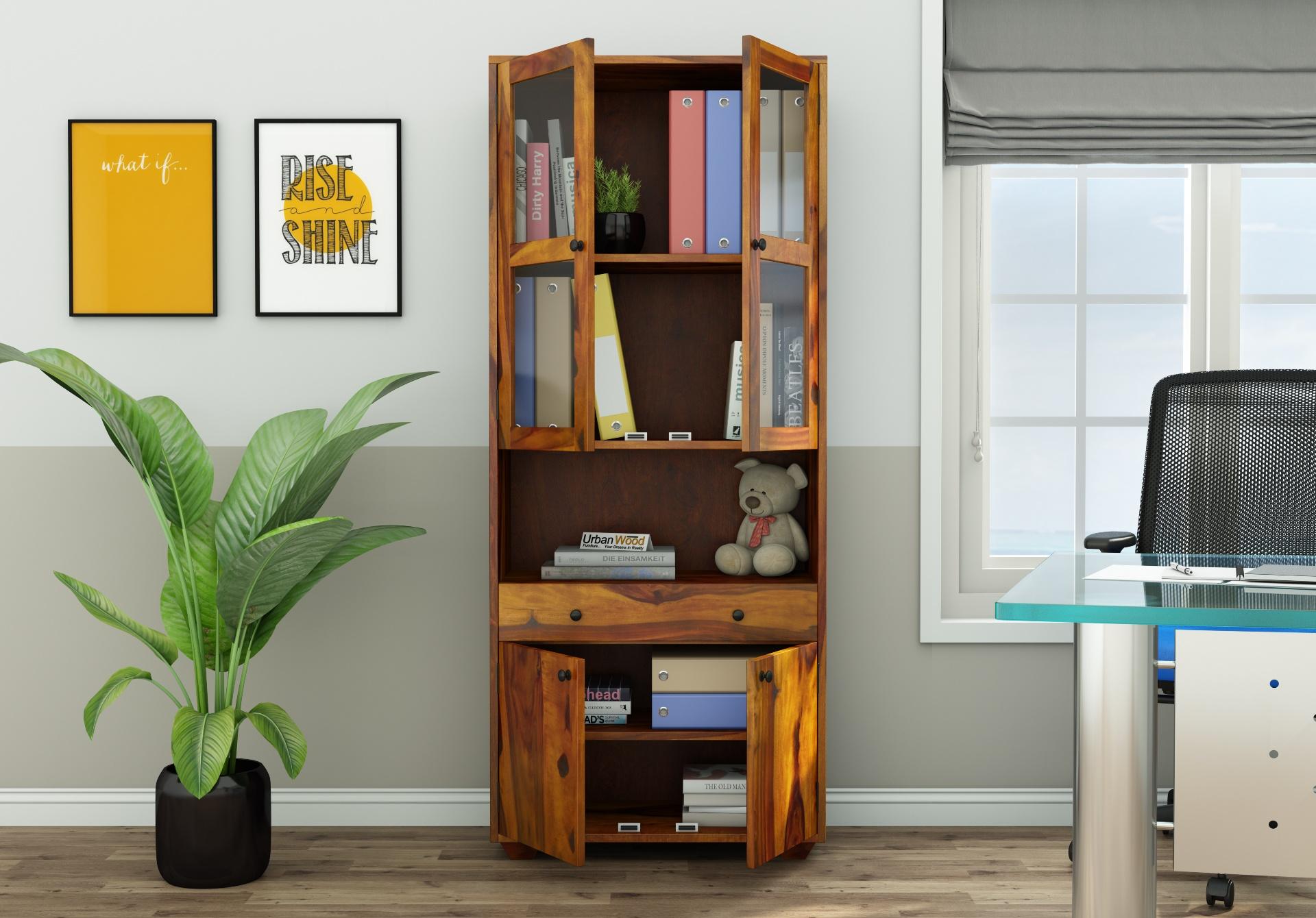 Tubular Wooden File Cabinet <small>(Honey Finish)</small>