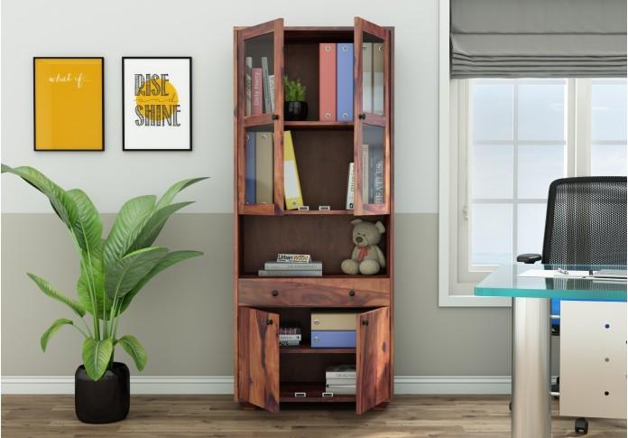 Tubular Wooden File Cabinet (Teak Finish)