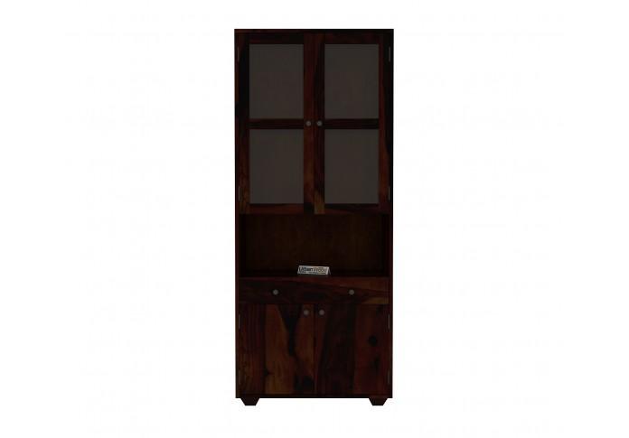 Tubular Wooden File Cabinet (Walnut Finish)