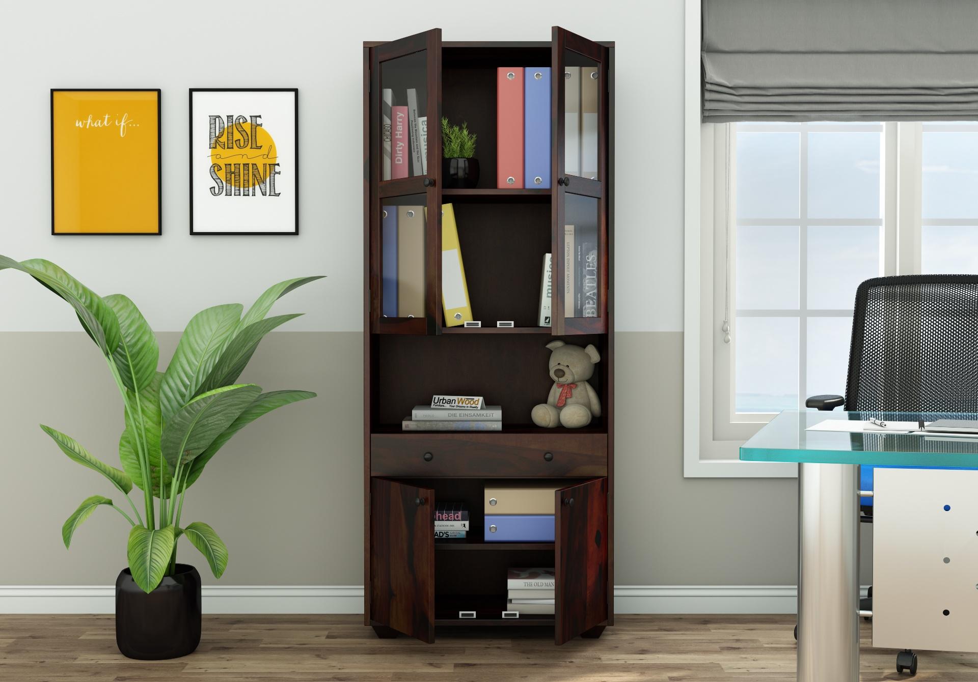 Tubular Wooden File Cabinet <small>(Walnut Finish)</small>