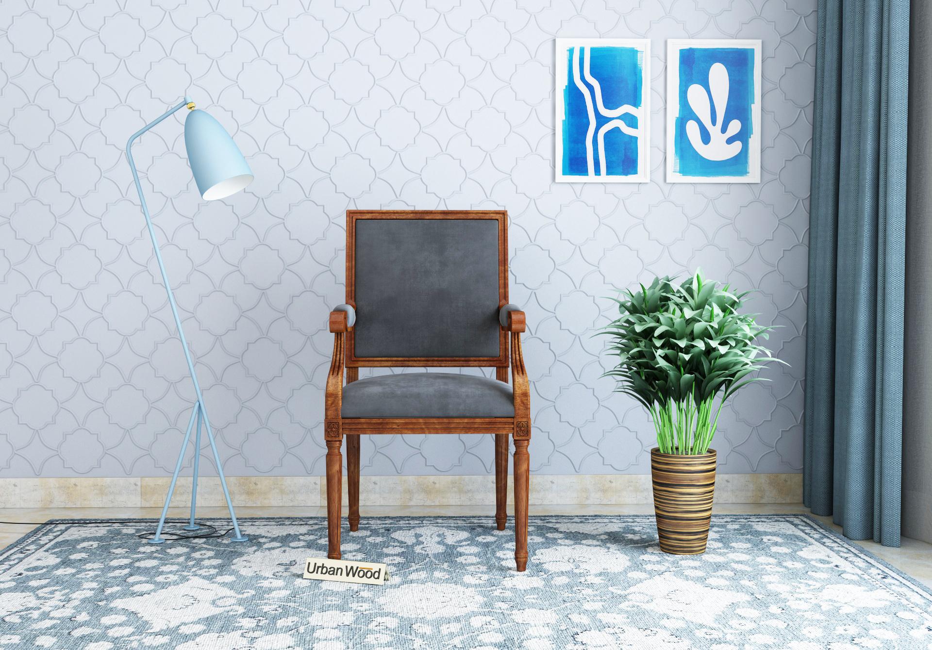 Armado Arm Chair <small>( Velvet, Stone Grey )</small>