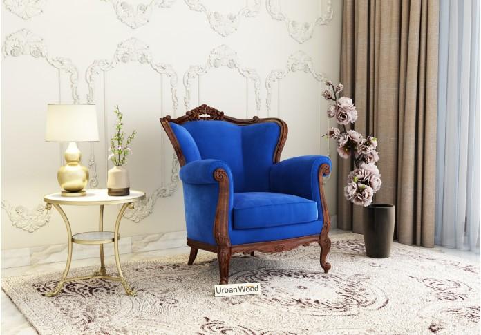 Badge Arm Chair <small>( Velvet , Sapphire Blue )</small>
