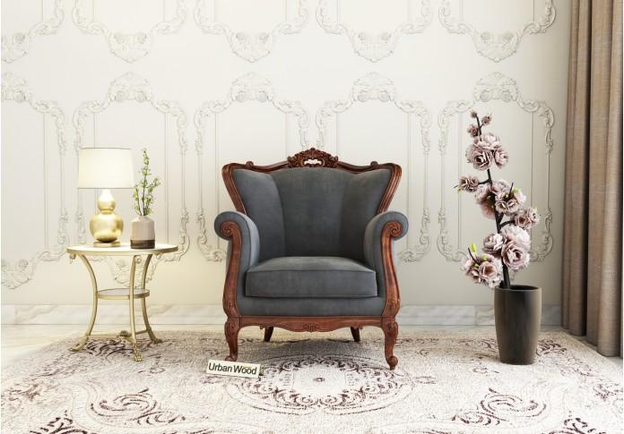 Badge Arm Chair <small>( Velvet, Stone Grey )</small>