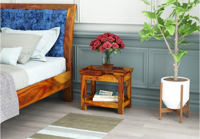 Ross Wooden Bedside Table (Honey Finish)