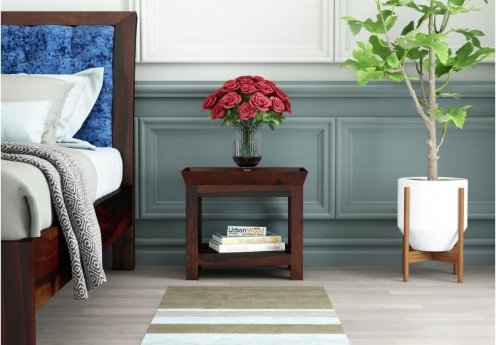 Ross Wooden Bedside Table (Walnut Finish)