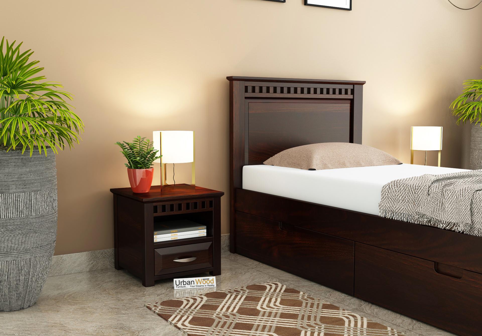 Fusion Bedside Table <small>( Walnut Finish )</small>
