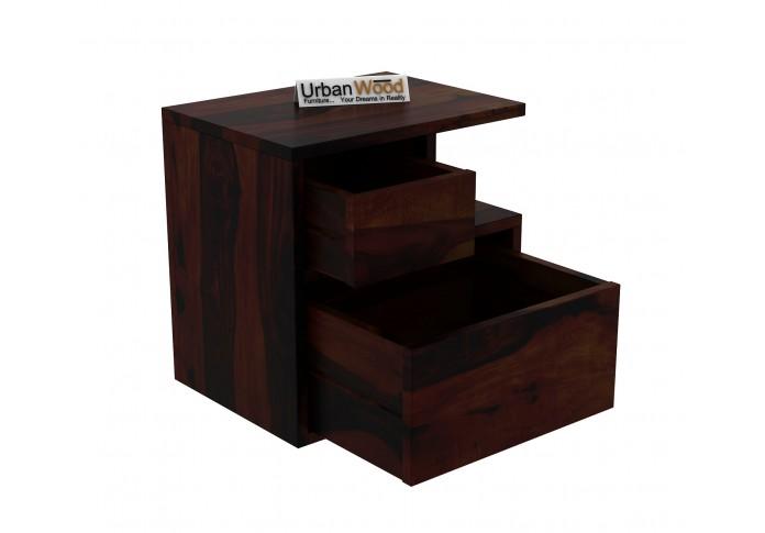 Jerry Wooden Bedside Table (Walnut Finish)