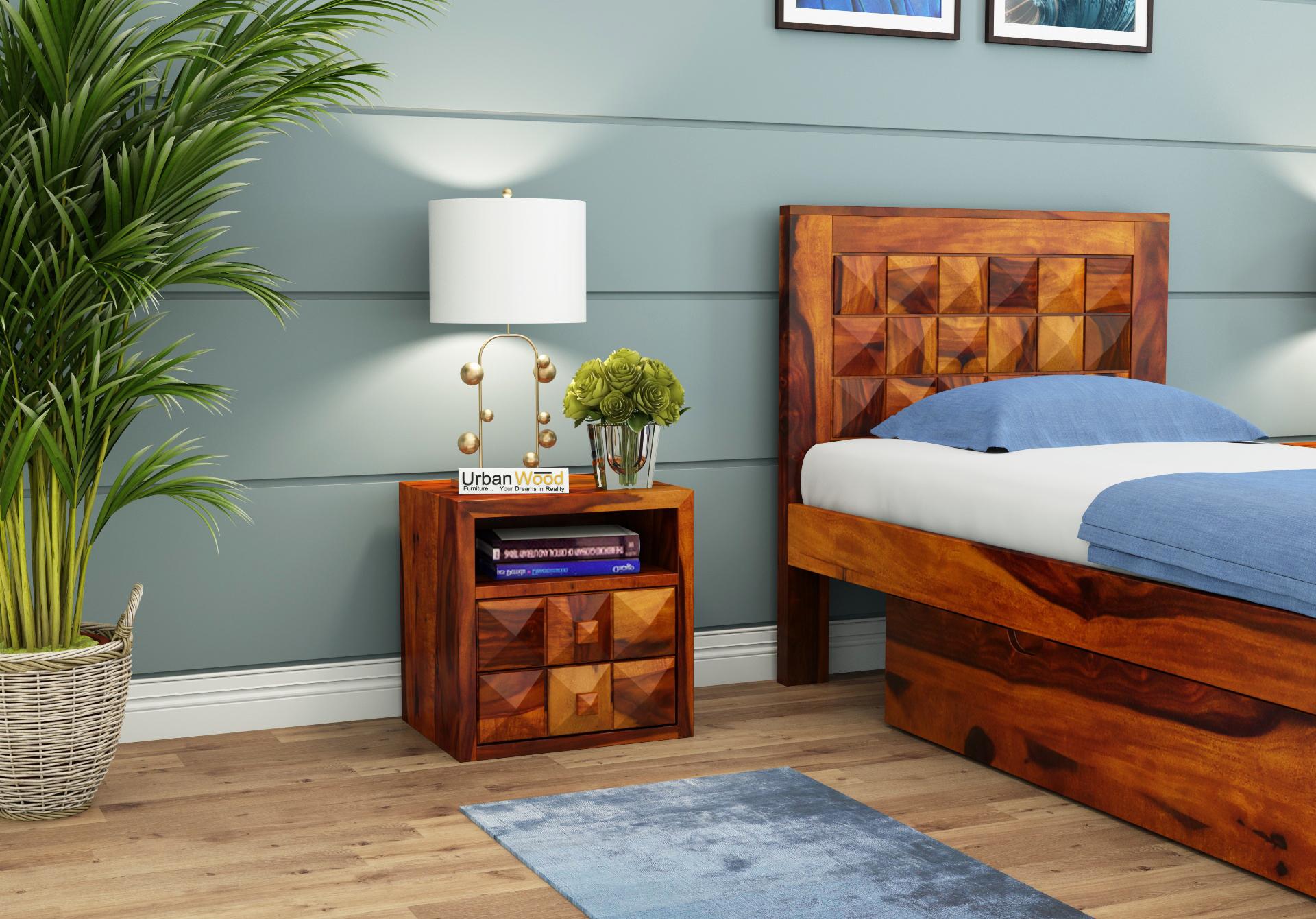 Morgana Bedside Table <small>( Honey Finish )</small>