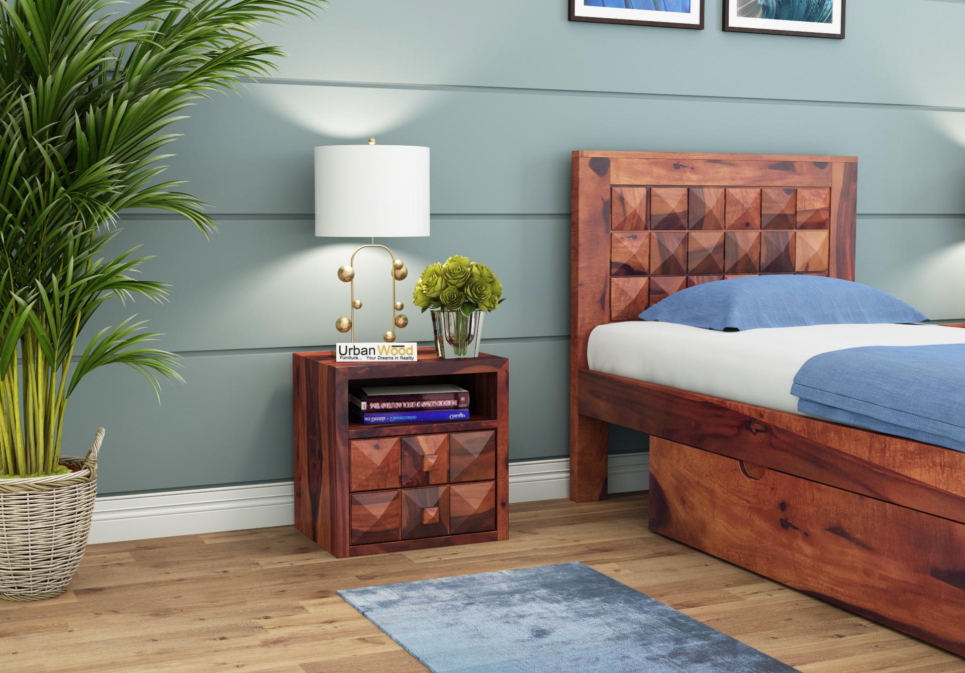 Morgana Bedside Table <small>( Teak Finish )</small>