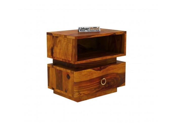 Berlin Wooden Bedside Table (Honey Finish)