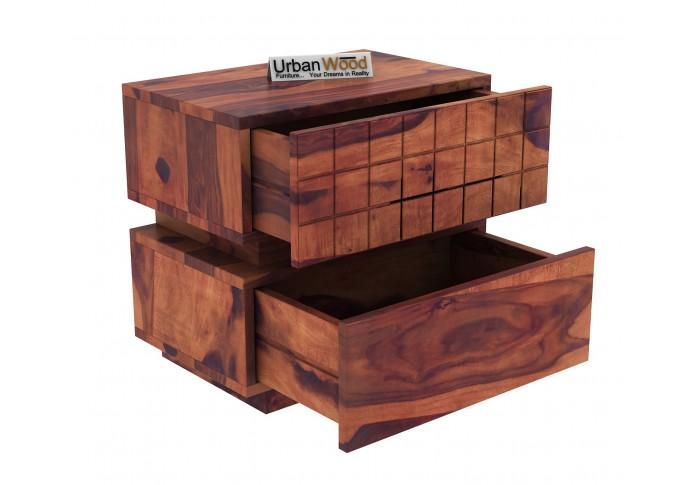 Solic Wooden Bedside Table (Teak Finish)