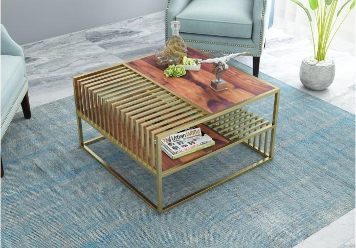 Lense Wooden Coffee Table (Teak Finish)