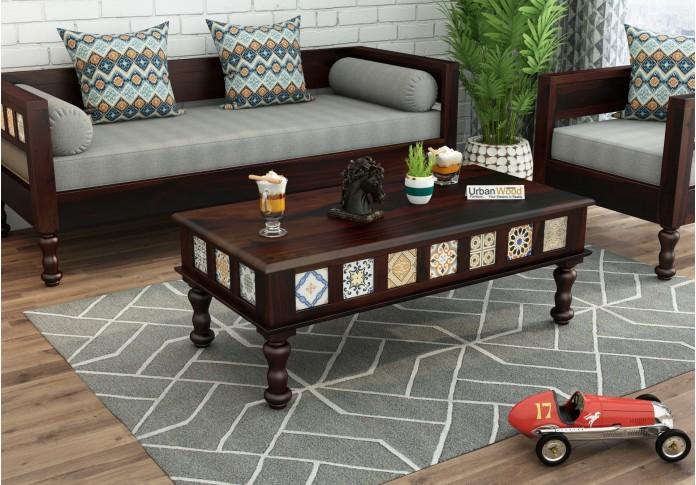 Relay Ceramic Tile Coffee Table (Walnut Finish)